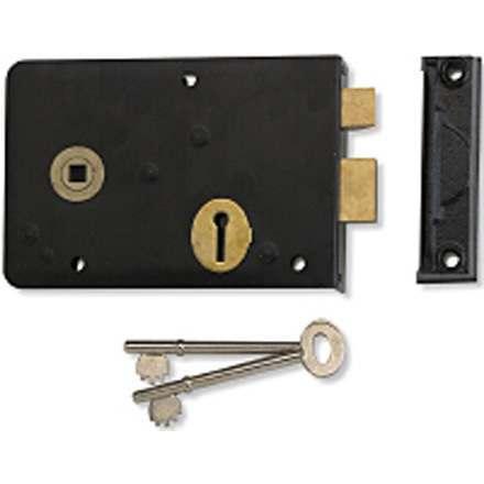 Union 1439 Left Hand Cast Rim Lock Black Enamel
