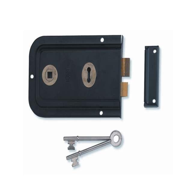 Union 1445 Non-Handed Rim Lock Black Enamel