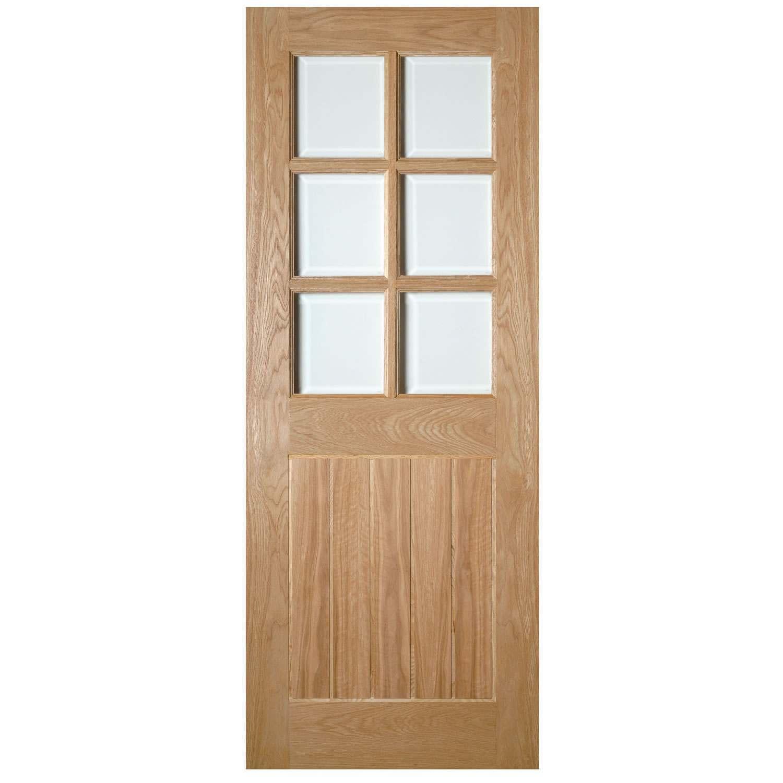 Deanta Ely 1981mm x 838mm Glazed Internal Oak Door Unfinished