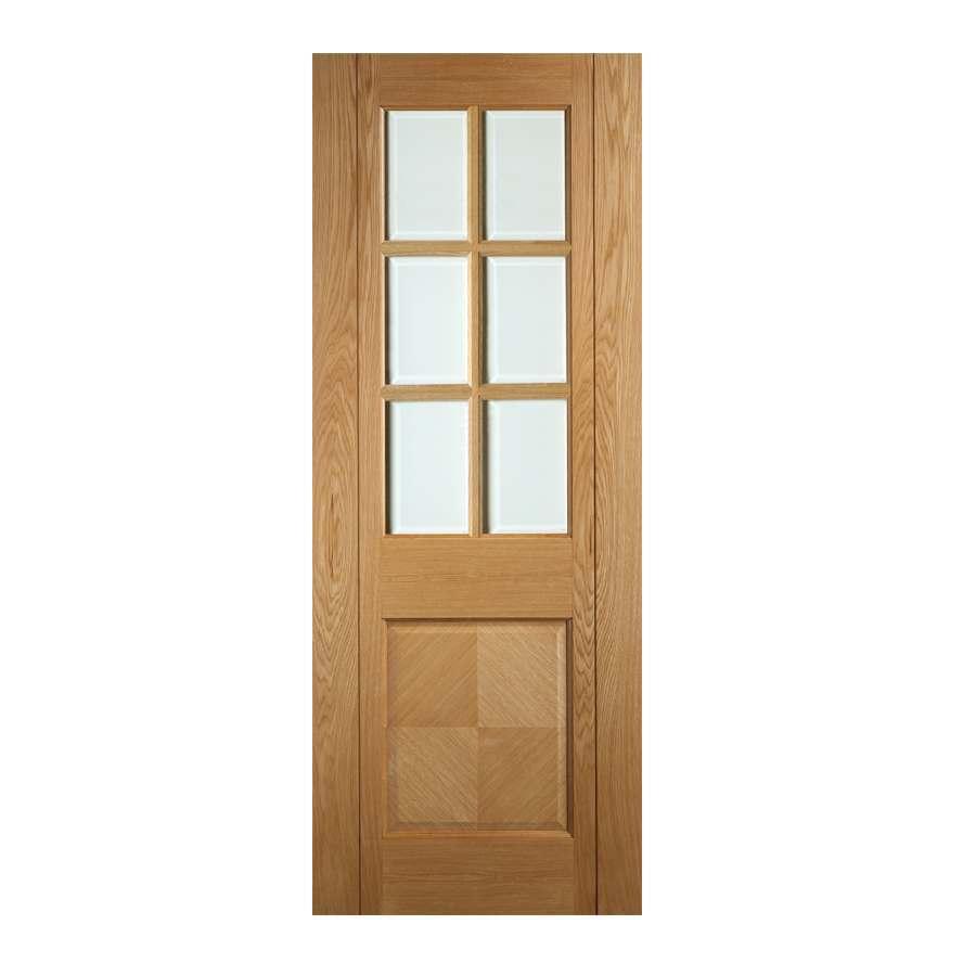 Deanta Kensington 1981mm x 610mm Glazed Internal Oak Door Pre-finished