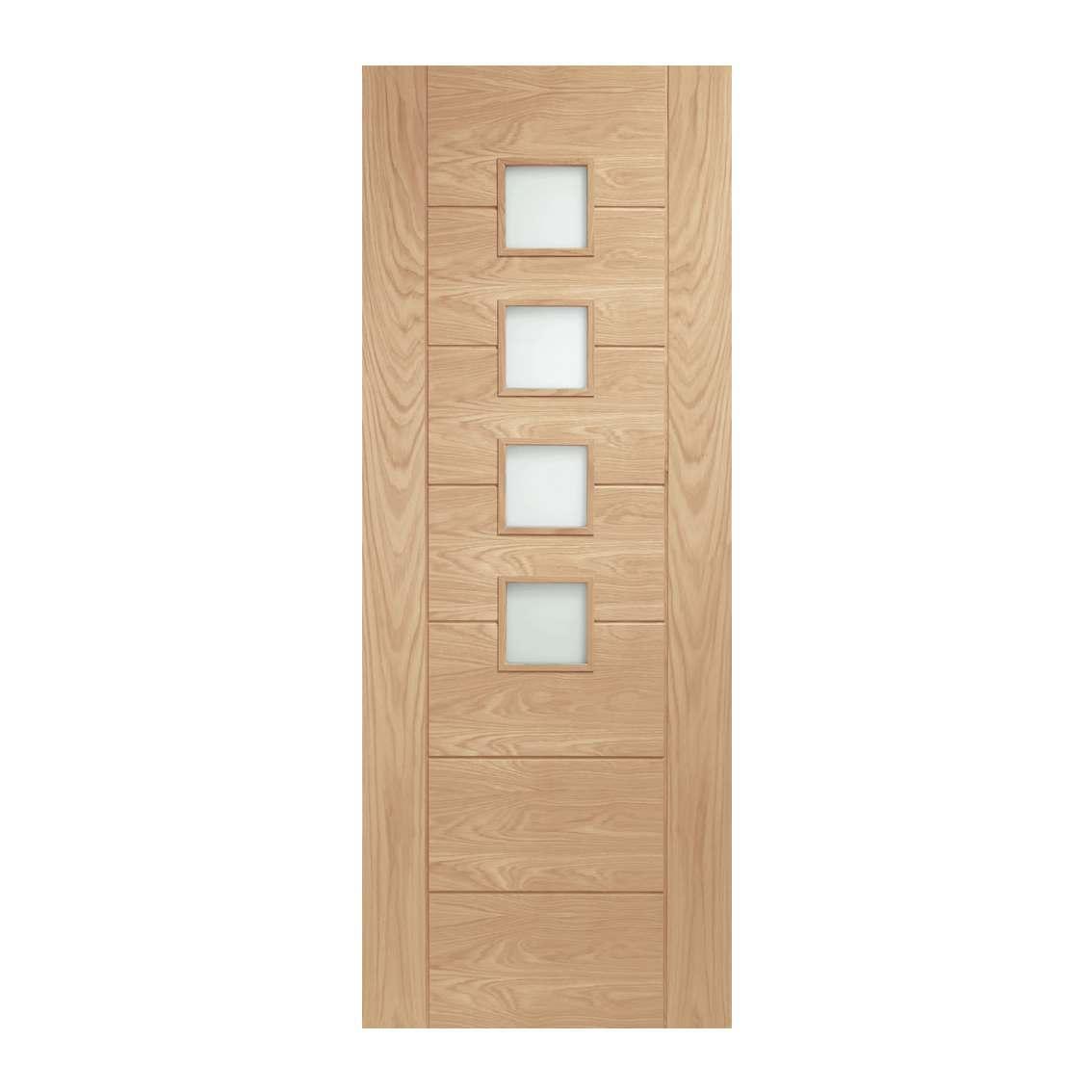 XL Joinery Palermo 1981mm x 762mm Obscure Glazed Internal Oak Door Pre-finished