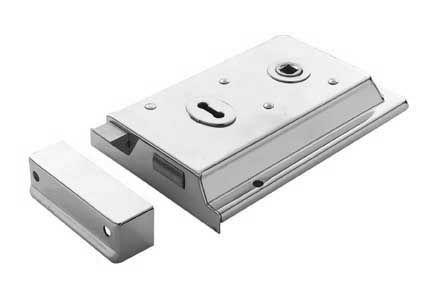Traditional Rim Lock Profile 140mm x 76mm Polished Chrome