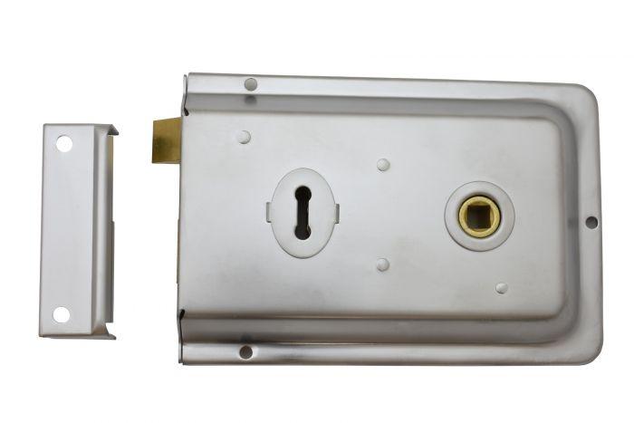 Traditional Rim Profile Lock 152mm x 102mm Satin Chrome